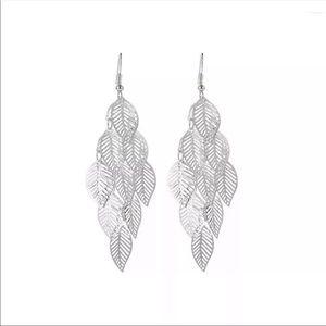 Jewelry - Multi leaf silver tone dangle earrings NEW